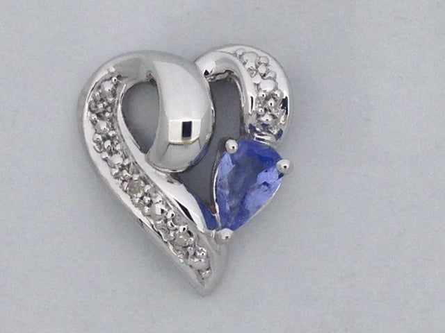Natural Tanzanite with Natural Diamond Heart Pendant 925 Sterling Silver