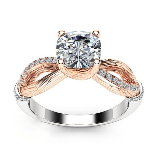 Two Tone Infinity Solitaire CZ Women Engagement Ring #526