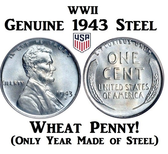 VERY RARE! - GENUINE WWII 1943 STEEL Wheat Penny!!!!    | Tophatter