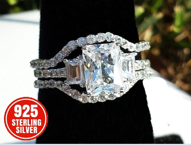 Pure Sterling Silver 3-Stone Asscher CZ Ring