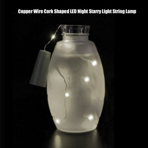 Romantic Copper Wire Cork Shaped LED Night Starry Light String Lamp Light