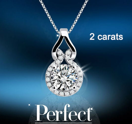 2CT Han Edition Delicate White Gold Plated Zircon Pendant Necklace