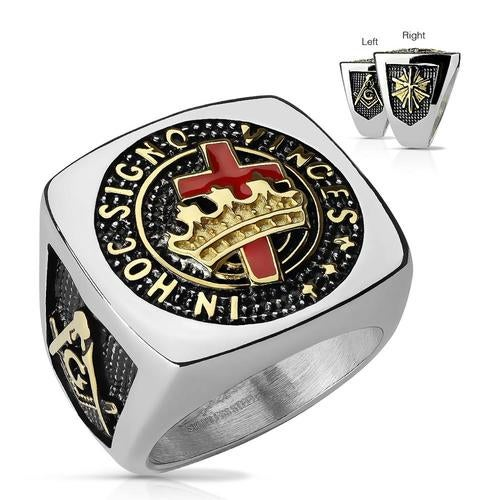 Burned Black and Gold Two Tone Masonic Sqaure Face Stainless Steel Rings