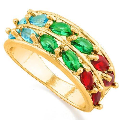14k Gold Filled, Beautifully Created Multicolor Gemstones Ring