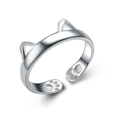 S&E Women's 925 Silver Ring Simple Cute Cat Design Opening Ring