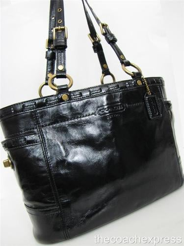 1c61097d2b COACH Black Patent Leather Laced Gallery Tote  11500