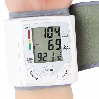 Digital LCD Wrist Blood Pressure Monitor Heart Beat Rate Pulse Meter Measure DP