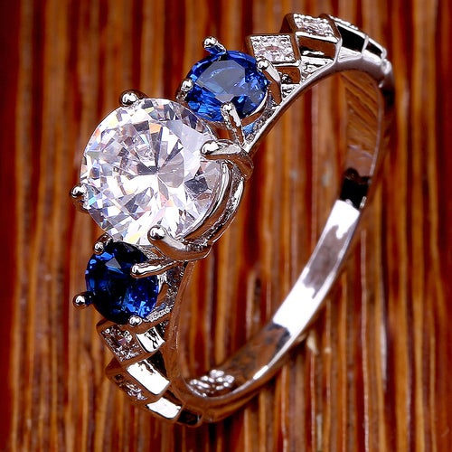 Classy White & Blue Sapphire Sterling Silver 925 Ring