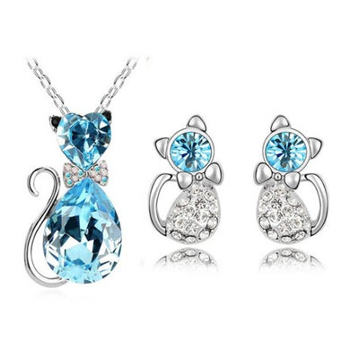 Gorgeous Modernist Genuine Light Blue AAA Zircon Cute Kitty Pendant Necklace And
