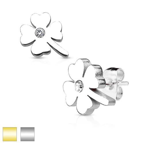 Shamrock with Crystal Center 316L Stainless Steel Earring Studs Pair