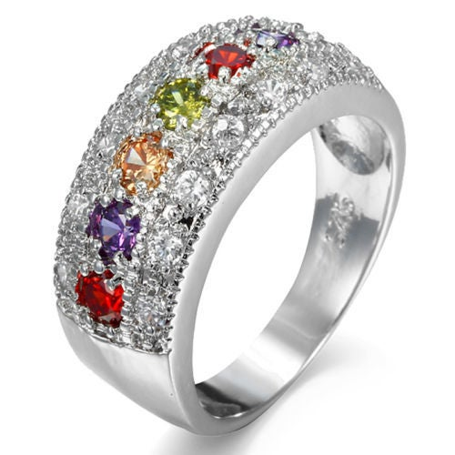 18kt White Gold Plated Multi Color Stone Arranged Pattern Rings