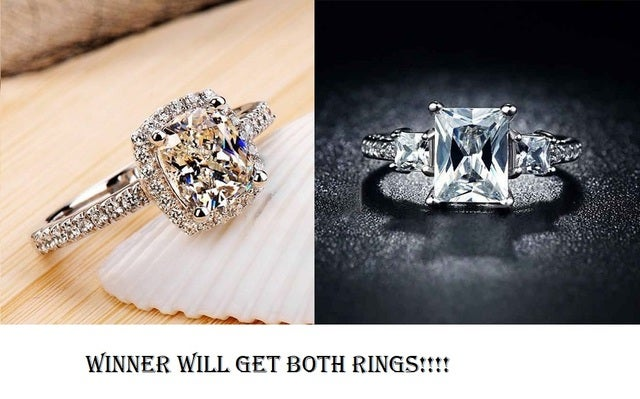 Winner will get both of these sterling silver AAA CZ rings!!!  Size 9 only