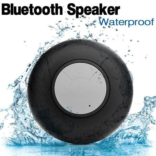 Black Water Resistant Bluetooth Speaker Wireless Call Mic for Shower/ Car, iPhone, Smartphone, Tablet, MP3