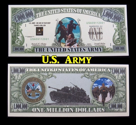 ~NEW~ $1 Million Dollar Collectible Note **Army**-  Great gift idea!!!!