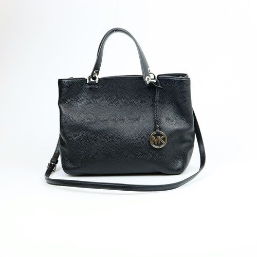 e1a5e79bd341 Michael Kors Anabelle Large Leather Top-Zip Black Tote | Tophatter