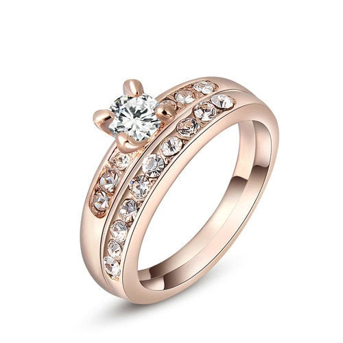 White Gold Plating Genuine Austrian Crystals Ring
