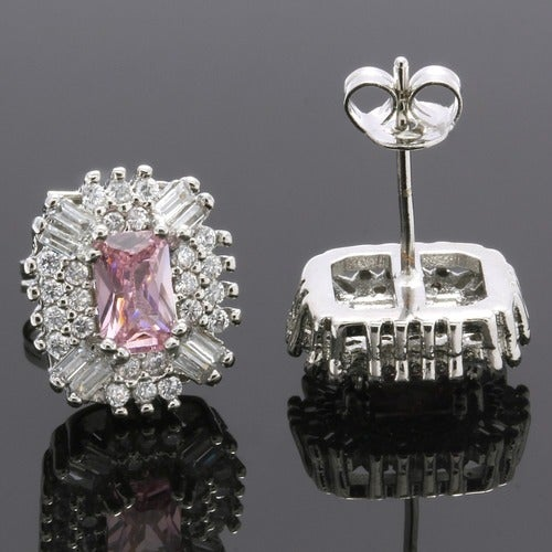 2.70ctw 14k White Gold Filled, Beautifully Created Fine Pink & White Sapphire Stud Earrings sm9267