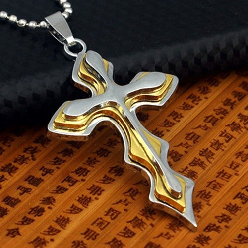 Stainless Two Tone Gold EP Stainless Steel Cross Necklace