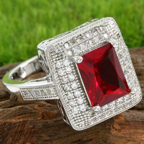 14k White Gold Filled Beautifully Created 1.60ctw Garnet and White Sapphire Ring