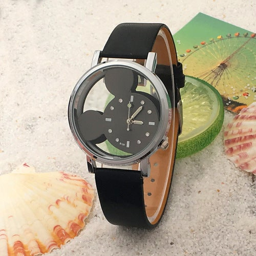 Hollow double-sided perspective belt watch electric drill cartoon mouse image child watch