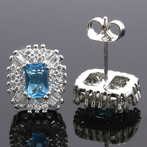 2.70ctw 14k White Gold Filled, Beautifully Created Fine Blue Topaz & White Sapphire Stud Earrings sm9268