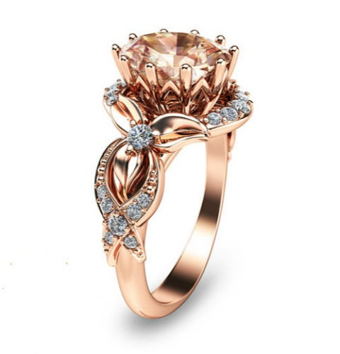 Rose Gold Color Floral Champagne CZ Women Engagement Ring #515
