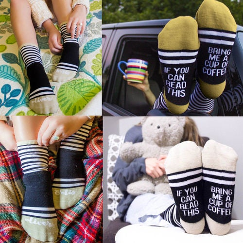 Womens Ladies Cotton Blend Thick Striped Letters Socks Warm Soft Sports Casual