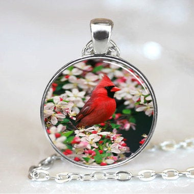Male Northern Cardinal among Crabapple Blossoms, Cardinal Photo Necklace, Silver