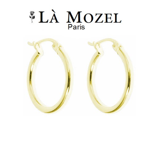 10K Solid Gold French Lock Hoop Earrings - 15MM
