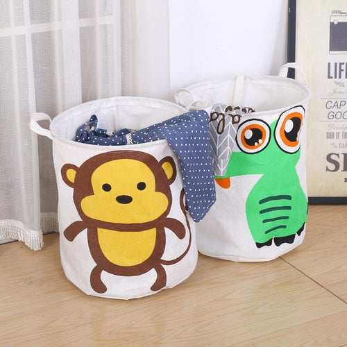 Cotton Linen Foldable Buckets Clothes Washing Laundry Basket  Home Laundry Hamper Solid Color Bucket