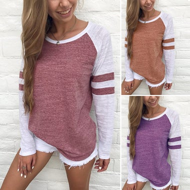 Women's Fashion Casual Long Sleeve Stripe Stitching T-shirt