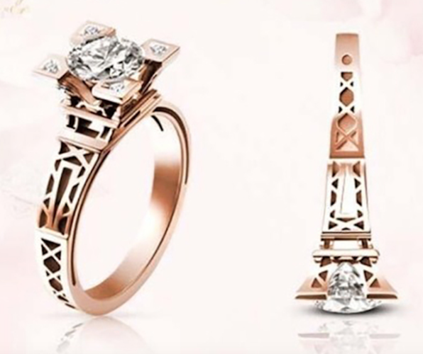 Eiffel Tower Rose Gold Color AAA CZ Women Ring Chrismas Gift #687