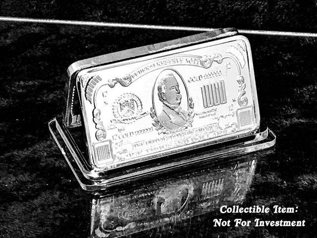 1 Troy Ounce Collectors Bar *Grover Cleveland $1,000 Federal Certificate* .999 Silver Clad