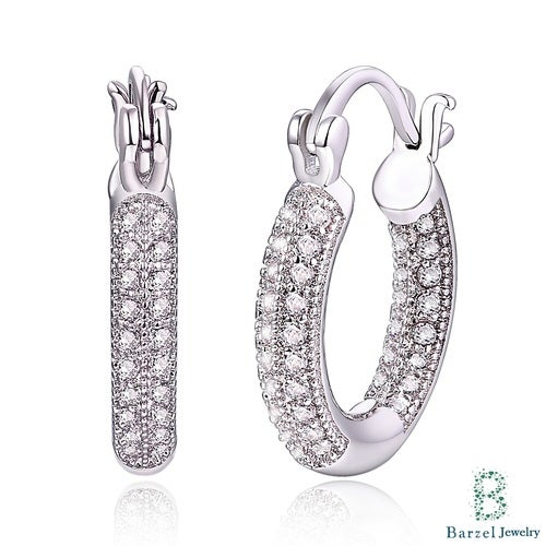 18K White Gold Plated Silver and White Swarovski Elements Huggie Earrings
