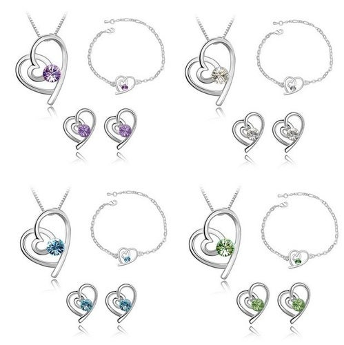 November Special... Buy one get one for $9!!! 18K WGP Swavorski Crystal and AAA CZ Heart Necklace set