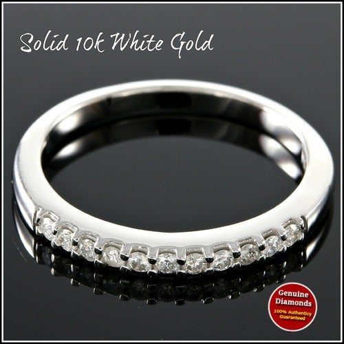 Solid 10k White Gold, 0.40ctw Genuine Diamonds Wedding Band #glamgold4779