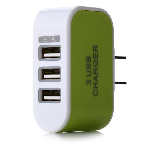Universal 3.1A 3 Port Charging Adapter Travel Wall Home Charger With LED Light - Green