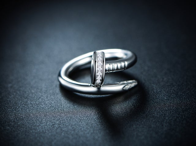 White Gold Filled Cubic Zirconia Nail Ring