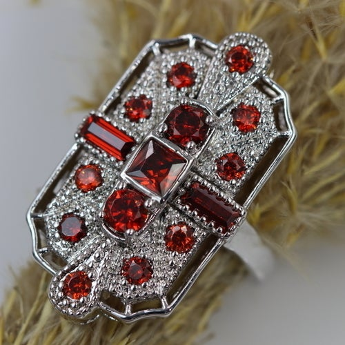 Art-Deco style ring. Great quality and absolutely gorgeous looking ring. Fashionable ring with lot's of details. Certified Platinum plated. Genuine Italian zircon.