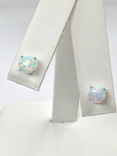 Created White Opal Stud Earrings 925 Sterling Silver