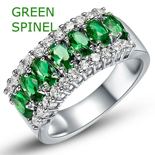 18kt White Gold Plated Genuine Green Spinel Princess Stone Ring