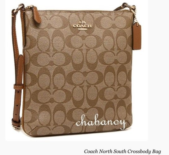 70c97e40 NWT Coach leather Signature North South Crossbody Shoulder Bag