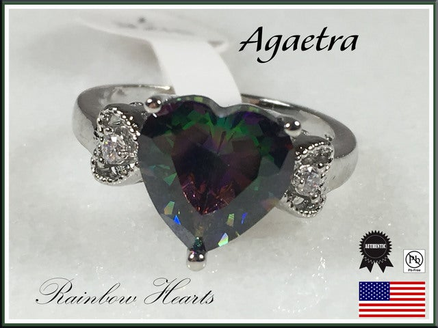 Rainbow Heart with Silver Overlay Ring. Size 7, 8 or 9