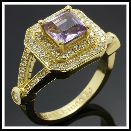 18k Gold High Polish Beautifully Created Fine Amethyst & White Topaz Ring sm7107