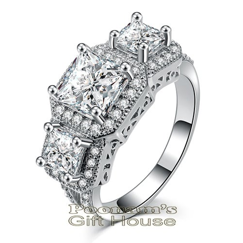 Exquisite Large 3 Stone Platinum Plated Ring