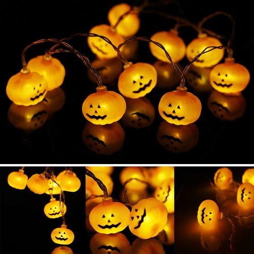 1.2m / 3.9ft 10-LED Pumpkin Face Style String Light Warm White Lamp Decoration Battery Operated for Halloween Garden Home Patio Lawn Holiday Party