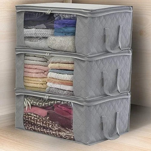4f4039df7776 Foldable Storage Bag Organizers, Large Clear Window & Carry Handles, Great  for Clothes, Blankets, Closets, Bedrooms, and More