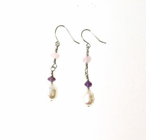 Genuine Freshwater Pearl & Amethyst Chips With Pink Quartz Chips Earrings