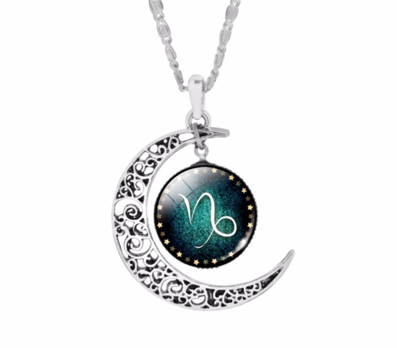 Crescent moon silver plated zodiac sign necklace.