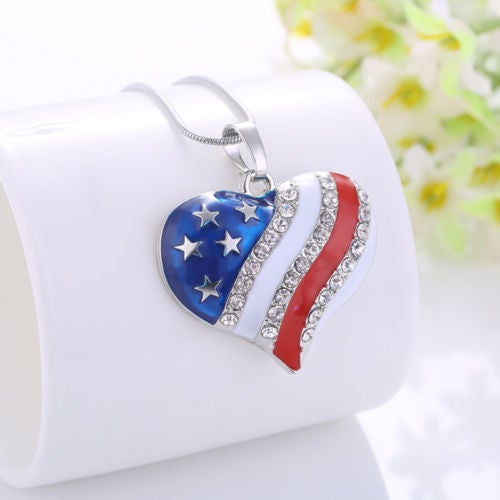 NK17 - Patriotic Red White Blue American Heart Pendant Necklace